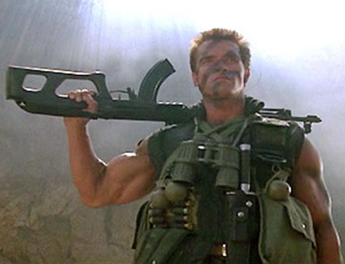 John Matrix (Arnold Schwarzenegger in Commando) with a Valmet rifle