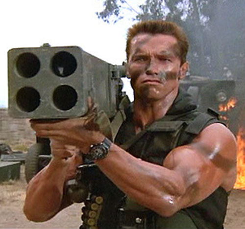 John Matrix (Arnold Schwarzenegger in Commando) aiming a rocket launcher