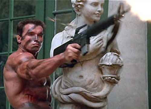 John Matrix (Arnold Schwarzenegger in Commando) firing a M16 one-handed