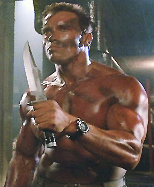 John Matrix (Arnold Schwarzenegger in Commando) with a big knife