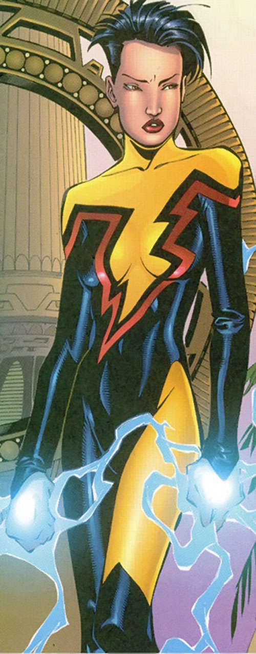 Jolt of the Thunderbolts (Marvel Comics) with lightning hands