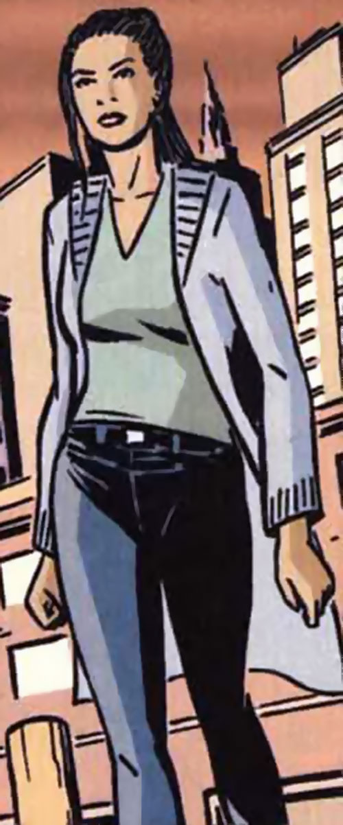 Josie Mac (Batman character) (DC Comics) with a light grey long vest