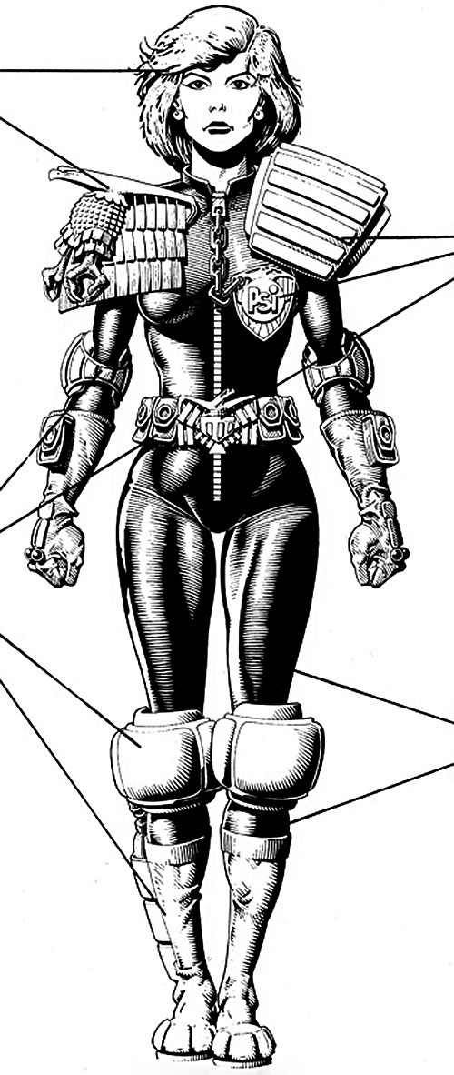 Judge Anderson (Judge Dredd 2000 AD) B&W reference model sheet