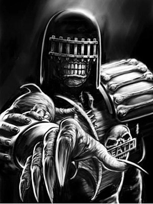 Judge Death (Judge Dredd enemy) (2000AD Comics) reaching out B&W art