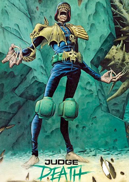 Judge Death (Judge Dredd enemy) (2000AD Comics) and green stones