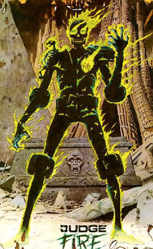 Judge Fire (Judge Dredd enemy) (2000AD Comics) in a strange city