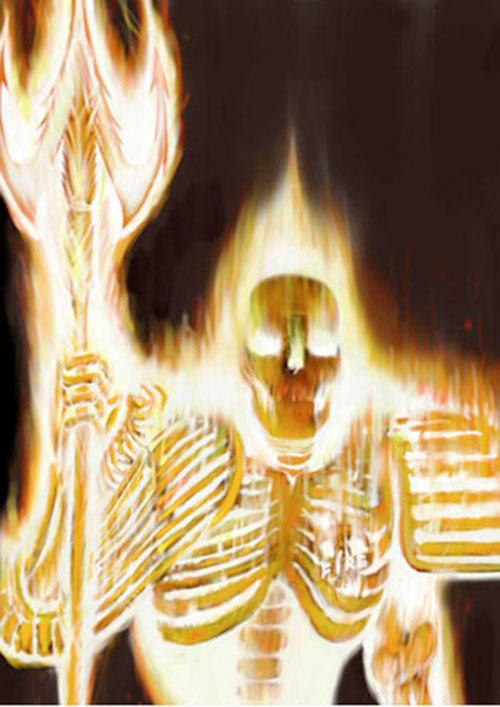 Judge Fire (Judge Dredd enemy) (2000AD Comics) glowing brightly