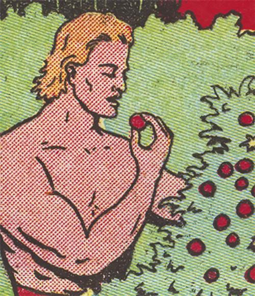Man eating berries off a bush - 1940s comic book art