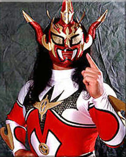 Thunder Liger in a red and white costume