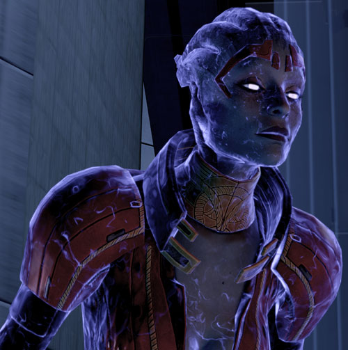 Justicar Samara in Mass Effect 2 covered with Dark Energy