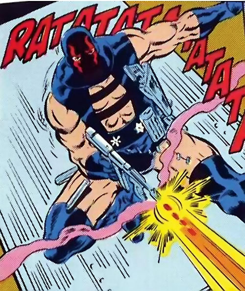 KGBeast (Batman enemy) (DC Comics) leaping and shooting a gun