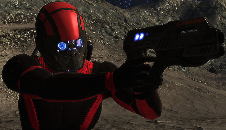Kaidan Alenko in his full Colossus hardsuit, aiming a pistol