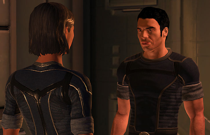 Kaidan Alenko discussing with Commander Shepard