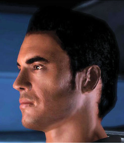 Kaidan Alenko in Mass Effect face closeup side view