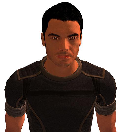 Kaidan Alenko in Mass Effect in blue, closed expression