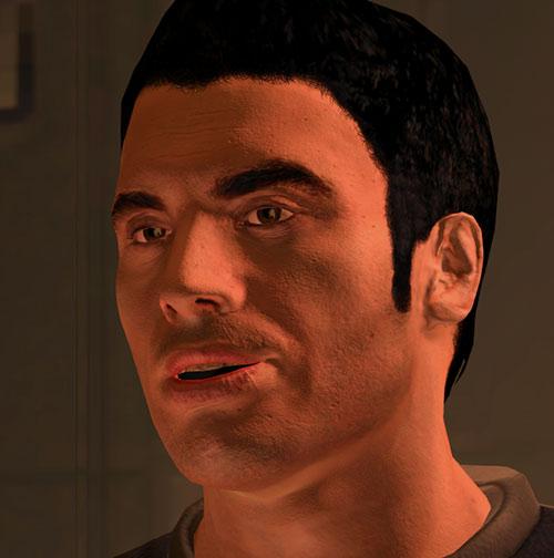 Kaidan Alenko in Mass Effect, face closeup light smile