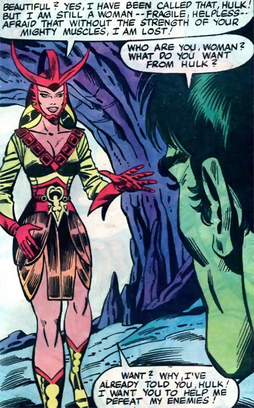 Queen Kala (Marvel Comics Subterranea) - smiling to the Hulk