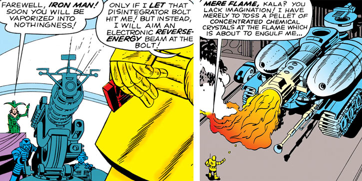 Queen Kala (Marvel Comics Subterranea) - giant cannon and giant flame tank