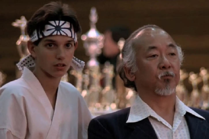 Karate Kid Daniel LaRusso - 1980s movies - Ralph Macchio - with Mister Miyagi