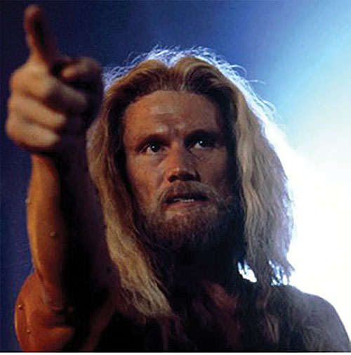 Karl Honig the street preacher (Dolph Lundgren in Johnny Mnemonic) face closeup, pointing