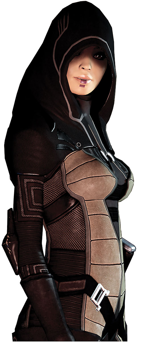 Kasumi Goto (Mass Effect) high res beige and brown outfit side view
