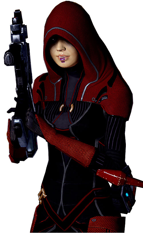Kasumi Goto (Mass Effect) red loyal, smile and raised Locust