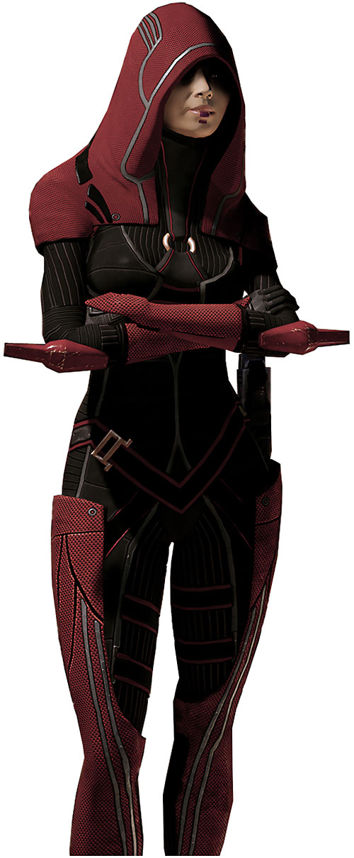 Kasumi Goto (Mass Effect) red outfit arms crossed