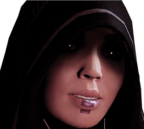 Kasumi Goto (Mass Effect) apprehensive face closeup