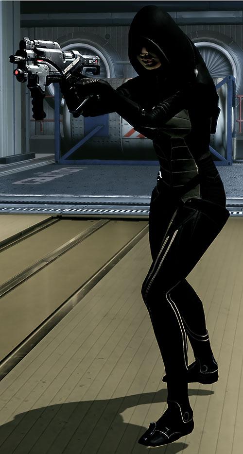 Kasumi Goto (Mass Effect) aiming her Locust