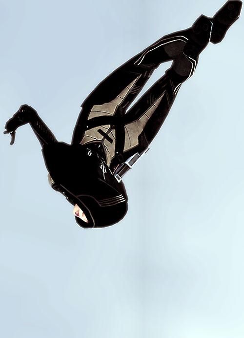 Kasumi Goto (Mass Effect) acrobatic flip across the sky