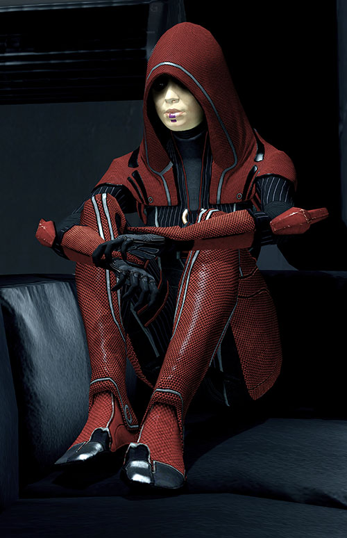 Kasumi Goto (Mass Effect) in red on a black leather couch