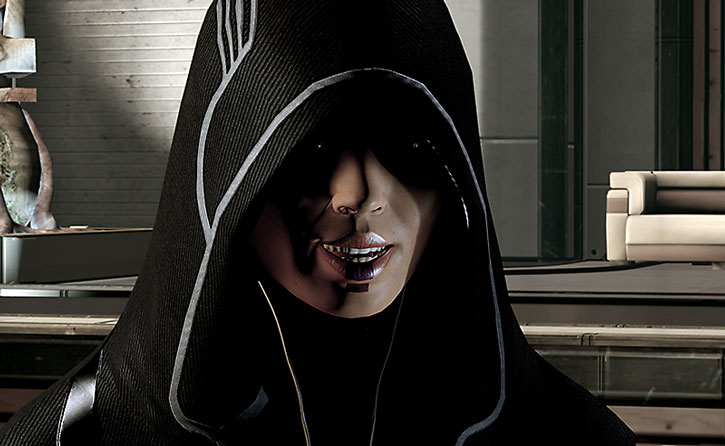 Kasumi Goto's hooded face