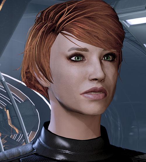 Kelly Chambers (Mass Effect) face closeup