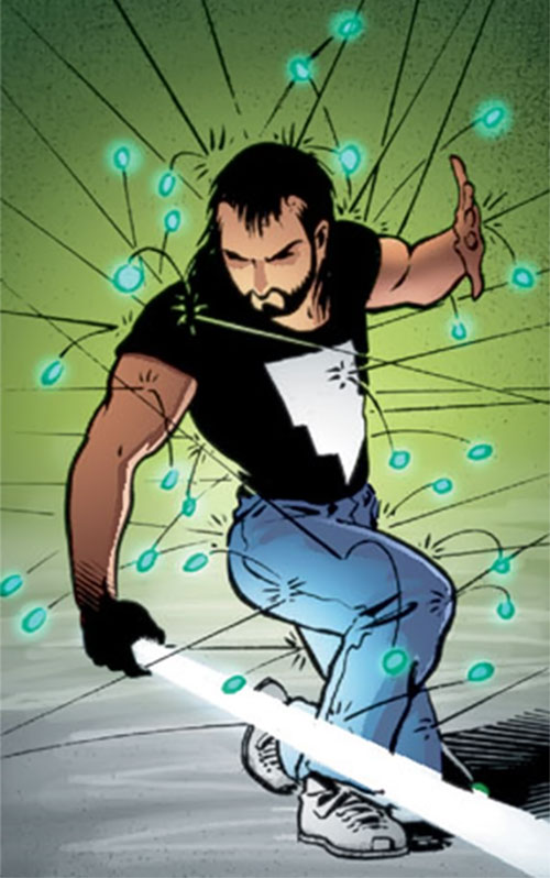 Kevin Matchstick (Matt Wagner's Mage Hero Discovered) hit by a hail of projectiles