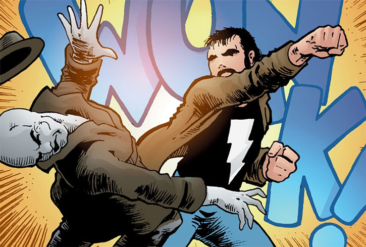 Kevin Matchstick (Matt Wagner's Mage Hero Discovered) punches a grackleflint