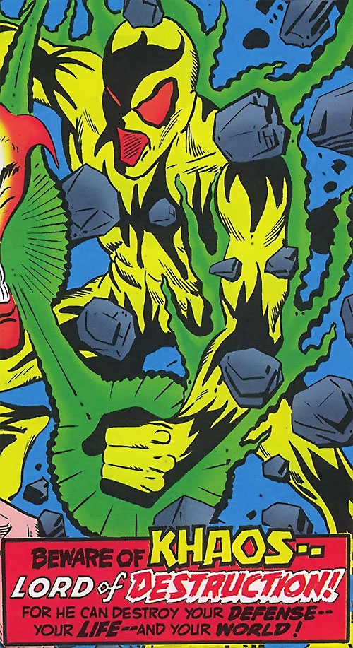 Khaos (Shade the Changing Man enemy) (DC Comics Ditko) with blurb