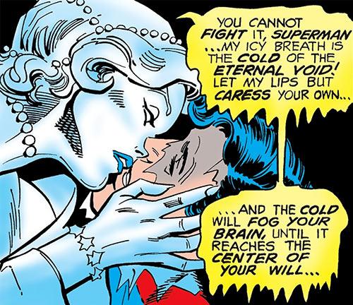 Killer Frost (Firestorm enemy) (DC Comics) (Crystal Frost) kissing Superman