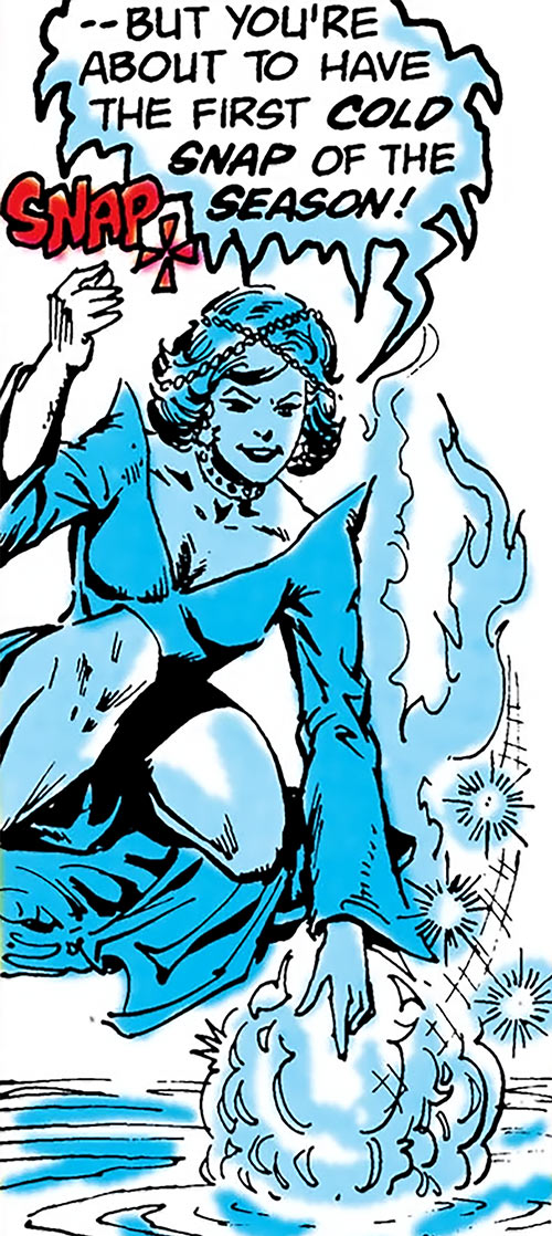 Killer Frost (Firestorm enemy) (DC Comics) (Crystal Frost) freezes a lot of water