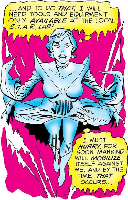 Killer Frost (Firestorm enemy) (DC Comics) (Crystal Frost) soaring