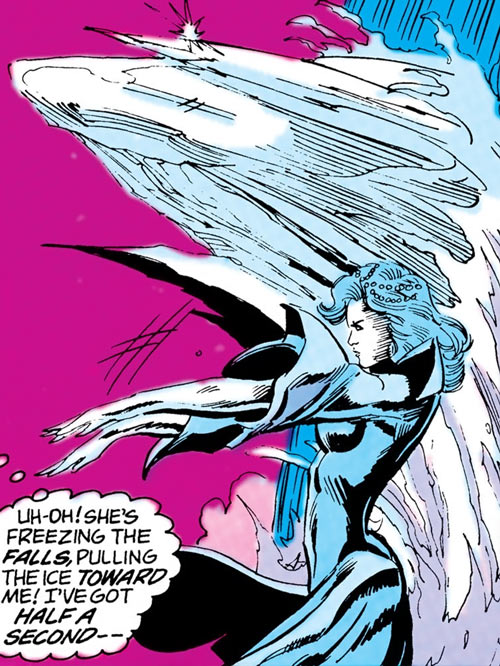 Killer Frost (Firestorm enemy) (DC Comics) (Lincoln) attacks by freezing a waterfall