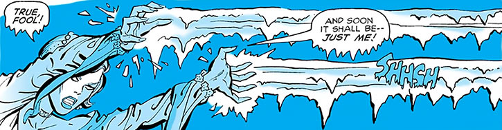 Killer Frost (Crystal Frost) shooting ice beams from her hands