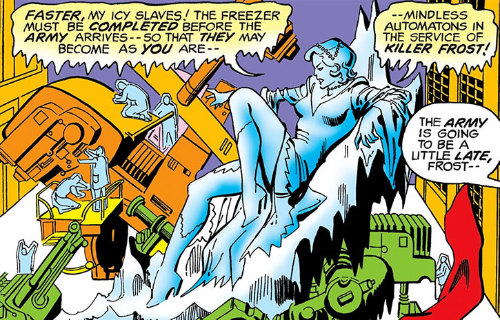 Killer Frost (Crystal Frost) on an ice throne in a lab