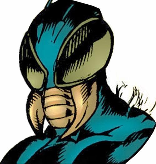 Killer Wasp of the Injustice Society (JSA enemy) (DC Comics) helm closeup
