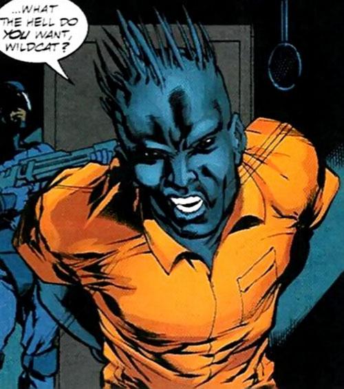 Killer Wasp of the Injustice Society (JSA enemy) (DC Comics) face closeup