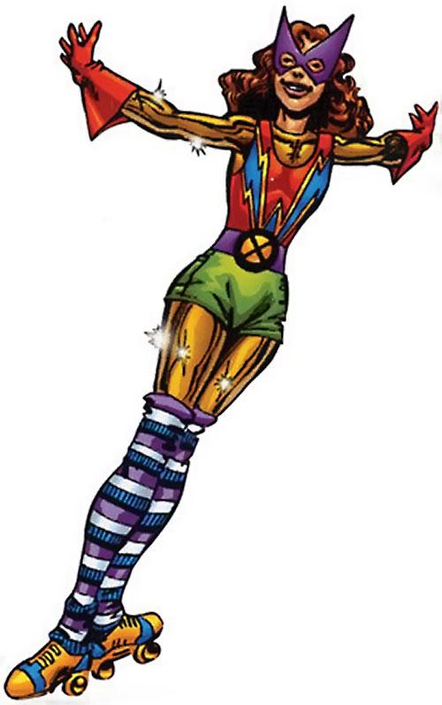 Kitty Pryde of the X-Men in her disco roller skates costume (Marvel Comics)