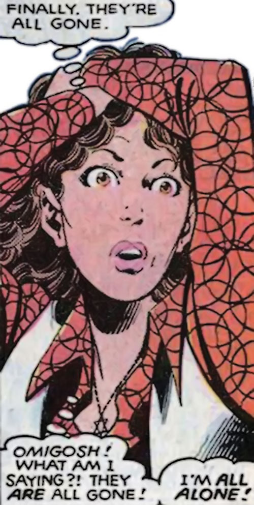 Kitty Pryde of the X-Men in a red 1980s blouse (Marvel Comics)