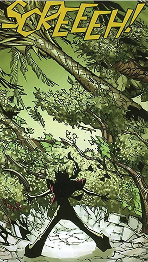 Klara Prast of the Runaways (Marvel Comics) has a barrier of trees burst from the ground