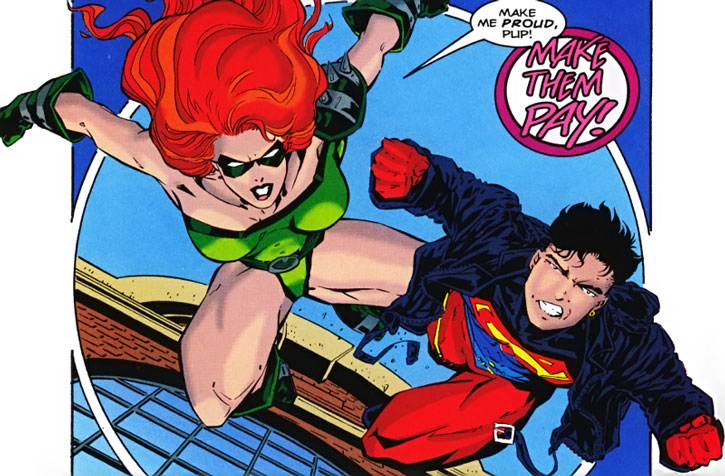 Knockout and Superboy leap into a fight