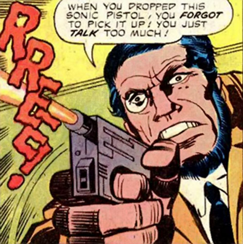 Konik (Machine Man enemy) (Marvel Comics) fires a miniature sonic pistol