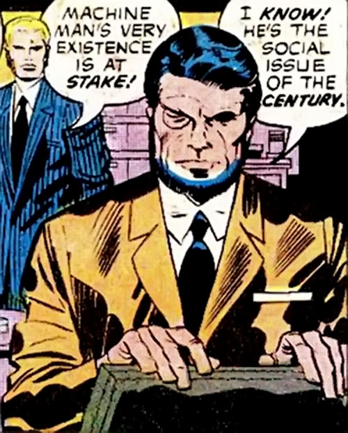 Konik (Machine Man enemy) (Marvel Comics) in a mustard suit